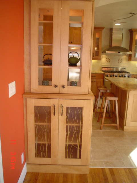 arch wall end  cabinets with internal lights