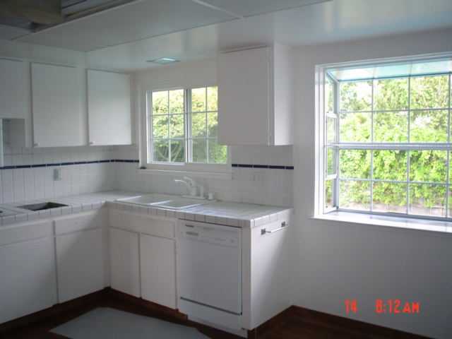 old kitchen, hospital white color, yikes!
